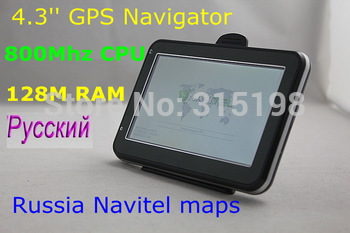 Special offer! 4.3 inch car GPS navigator 128M DDR built-in 4GB with free IGO maps or 2012 Russia Navitel 5.5 maps