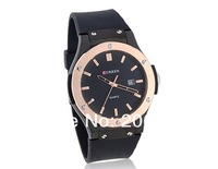 latest style Curren Round Dial Men's Analog Watch with Plastic Strap (Black).men's watch+free shipping