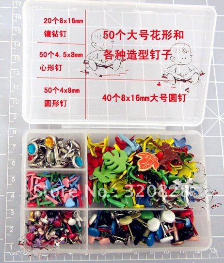 Free shipping 210pcs mix Brads colorful DIY material scrapbooking embellishments craft nail metal brad(China (Mainland))