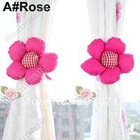 Best Selling--2pcs Colorful Sunflower Drapes Curtain Decorative Tieback Buckle Hooks Clip Holdback Holder--Rose