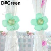 Newest--2pcs Colorful Sunflower Drapes Curtain Decorative Tieback Buckle Hooks Clip Holdback Holder--Green
