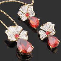 clearance sale rose pendant earrings costume Jewelry set 18k real gold plated  cloisonne baken finish NJ-747 Rihood