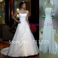 Classic Simple A-Line Bdading Pleat Tank Camisole Lace Up Corset White Chiffon And Satin Chapel Train Wedding Bridal Dresses