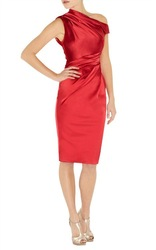 Free shipping KM Ladies&#39; Signa Ture stretch satin pencil dress (DN044)(China (Mainland))