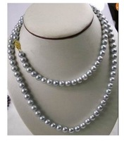 """WHOLESALE 48"""" 8-9MM AAA++ TAHITIAN SILVER GREY PEARL NECKLACE 14K"""