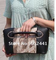 Fashion New Style Snake Grain PU Leather Woman Lady Girls Hand Clutch Shoulder Bag