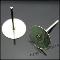 1500pcs/lot P24 Wholesale Jewelry Make Earrings Findings 8mm Flat Round Bank Peg&Post Ear Studs