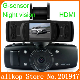Night vision Carcam Car dvr camera Recorder 5.0MP 6 LED flash light Full HD 1080P G-Sensor HDMI AV-OUT like gs1000 free shipping