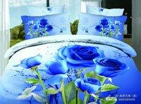 Premium cotton reversible duvet quilt covers gorgeous blue rose flower 3D romantic bedding sets 4pcs with sheets bed linen