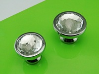Chrome Glass Crystal  Kitchen Cabinet Drawer Furniture knobs Pull Hardware(Diametre:28mm)