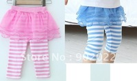 Free Shipping Children Kids Girl's Clothing Causal lace skirt stripe legging pants