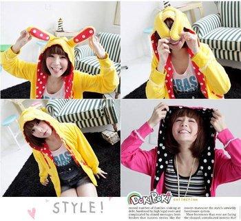 2290 Korean Women 2011 Hitz cute Institute of wind dot rabbit ears cardigan sweater/ Hoodies