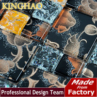 [KINGHAO] Supply Mosaic Wholesale Glass mosiac and Stainless steel  Mix  Diamond K00202
