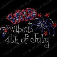 Wholesale 30pcs/Lot Free Shipping Custom Design Wild about 4th of July Hotfix Rhinestone Heat Transfers
