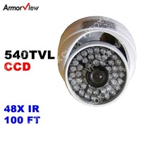 Weatherproof Dome 540TVL / 600TVL / EFFIO 700TVL SONY CCD CCTV Camera With 48IR Night Vision Wide Angle Security Dome Camera