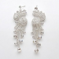 925 silver phoenix/peacock clear white crystal earrings  big BA-178 Neoglory Jewelry Wedding Jewelry Rihood Trading