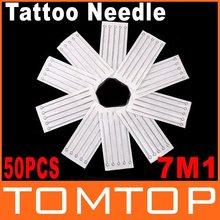 50 Pcs Disposable Round Shader Sterilized Tattoo Needles 7M1 Free Shipping Dropshipping(China (Mainland))