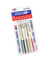 U-STAR File Kit UA-650, 5 in 1 High Density Emery Files, Including Flat, Round, Knife, Three Angle, Square File