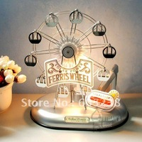 Free shipping Solar Power Riesenrad Ferris Wheel Bed Table Lamp Solar Energe Revolving Ferris Wheel
