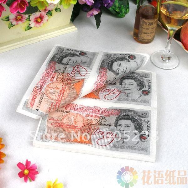 10 bags Sterling Currency Buffet Napkins (GBP - POUND) Note Printed Money Table Napkins (20pieces/bag)(China (Mainland))