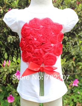 B2W2 baby red flower white t shirt girls tee children short sleeve top    5PCS /lot