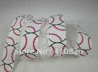 WM ribbon wholesale 7/8 inch baseball grosgrain ribbon hairbows 50yds/roll free shipping