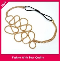 Wholesale and Retail special design alloy kniting gold chain Elastic hairband headband hair accessory 12pcs/lot