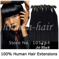 "Remy human hair extension nail tip/ U tip remy hair extension 20"" 100gram #01 Jet black color 200pieces/LOT"