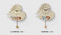 Free shipping Creativity!! Beautiful decor clock / Cupid wings wall clock / With the pendulum