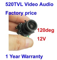 Free shipping 520TVL High resolution Mini Security Camera 120 deg view angle, 0.008Lux color video 12V