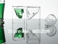 Free shipping 10% off 6 pieces Doomed Crystal Skull Shot Mug Glass /Crystal Skull Head Vodka Shot Mug Glass (2.5 ounces)