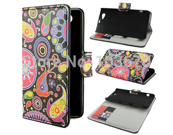 Lovely Jelly Fish Classic Flower Butterfly PU Leather Flip Wallet Cover Case for Sony Xperia Z1 Compact Z1 Mini Phone Pouch Bags