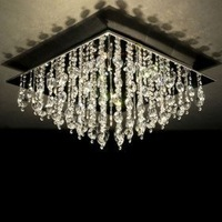 NEW Free Shipping High Quality Modern Crystal Flush Mount with 16 Lights in Square