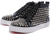 Black Patent Leather Mens Platform Sneakers Spike Flats Casual Shoes 2012