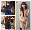 low price!! 3colors Fashion Sleeveless Romper Women Strap Short Jumpsuits free shopping