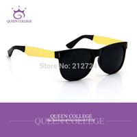 Queen college with case Brand New High quality Retro wayfarer sunglasses men Super Black & Gold Fashion classic glasses QC0069