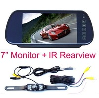 "Free Shipping!!New 7"" Car LCD Monitor Mirror + IR Reverse Car Rear View Backup Camera Kit"