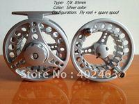 set (set=1pcs reel+1pcs spare spools ) Fishing Fly Reels 7/8 85mm Silver color Aluminum Die Casting 2+1RB