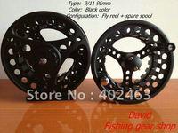 Fishing Fly Reels 9/11 95mm Black  Aluminum Die Casting 2 +1RB set (set=1pcs reel+1pcs spare spools )