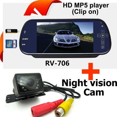 "Free Shipping!!Waterproof IR Night Vision Car Rearview backup camera w/ HD 7"" LCD Color Monitor(China (Mainland))"
