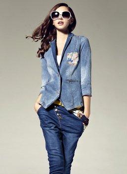 2012 women's lady's demin jean OL elegant patchwork silk short jacket blouse jackets