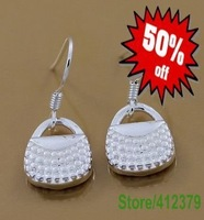 E006 Factory Price,Nice Package! Free shipping silver earring.fashion jewelry jewellry silver earring