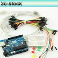 Mixed sales 5 IN 1 Open-source SET,UNO ATMEGA328 with USB Cable, Breadboard,Jumpers Wires,6pcs LEDs Starter Kits,free shipping