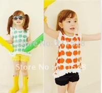 "2012 Summer Childrens girls suit kids clothing sets "" girl vest + girls Shorts "" 2 colors clothes wearing 620050"
