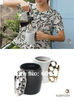 2 pcs Free shipping Fisticup : Coffee Mug with Brass Knuckle Handle