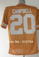 Free Shipping,#20 Earl Campbell orange Jersey,College Football Jersey,embroidery logos,size 48-56,mix order