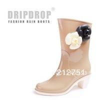 Classic Camellias Eco-Friendly Ankle Women Rain Boots Flower High Rubber Boots Botas Femininas 2014 Galocha Chuteira