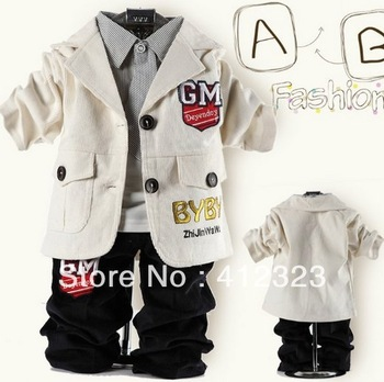 free shipping 3set/lot Baby boys children clothing suit sets coat+shirt+pant trouses children's garment