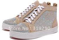 Mens Crystal Platform Sneakers, Fashion Beige Genuine Leather Dress Shoes 2012