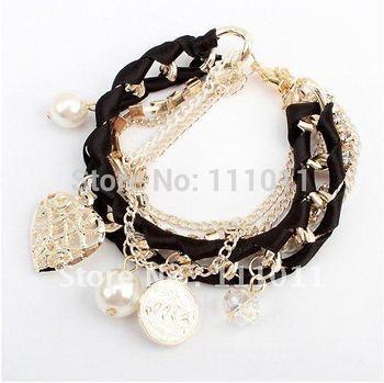 Min. order $10(mix order)Fashion Vintage  charms bracelet bangle pearl jewelry SPX0270  Black color Only